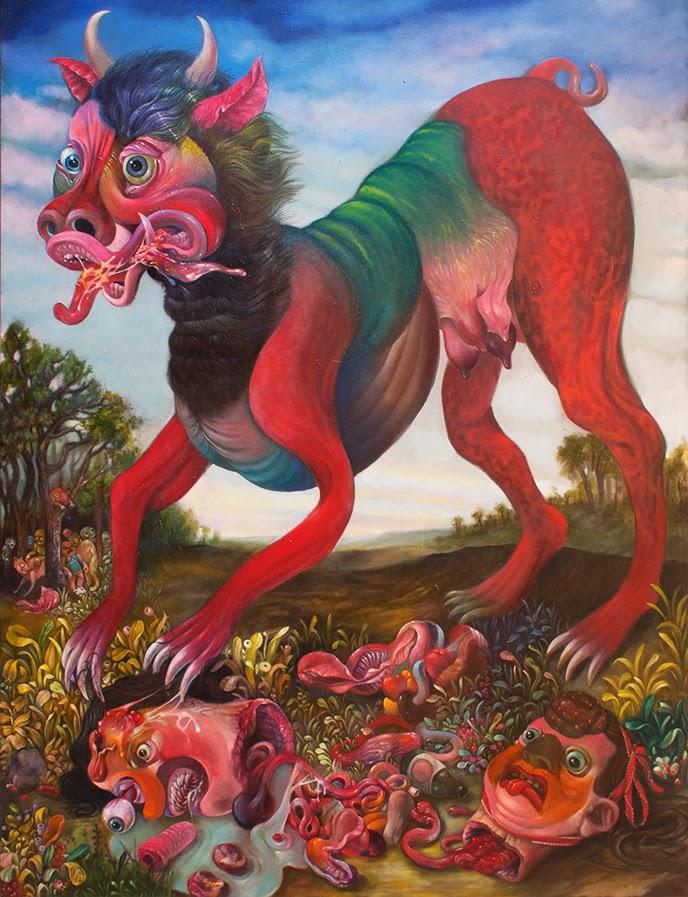 gregory jacobsen, monster, beast, dog, udder, grotesque, decapitated, eyeball, color, horns, slobber, landscape