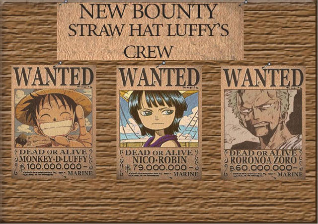 3 Posters Wanted Straw Hat Crew