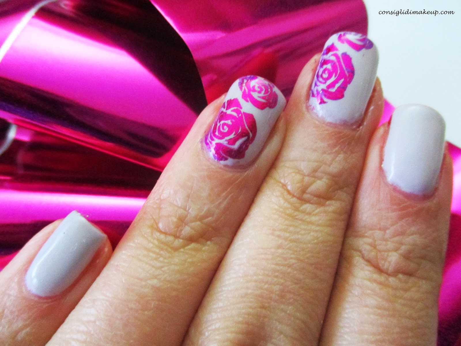 tutorial Nail art Flower Stamping & Foil