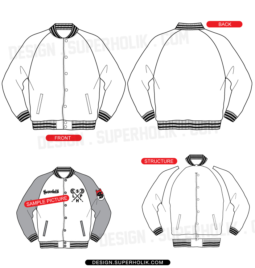 Raglan Varsity Jacket Template Set Superholik