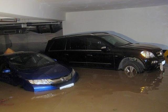 hầm chung cư ngập