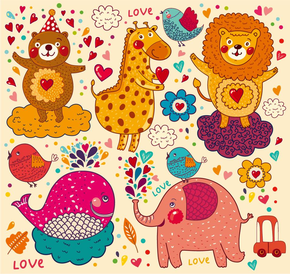 手書きの動物達の背景 Handpainted cartoon animals pattern イラスト素材