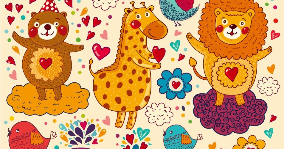 Free Vector がらくた素材庫 手書きの動物達の背景 Handpainted cartoon animals pattern イラスト素材