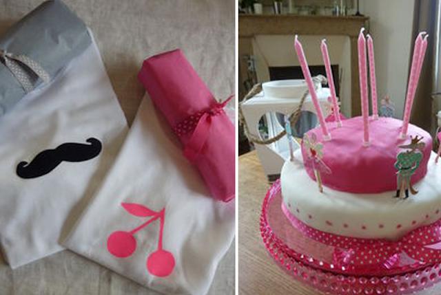 t-shirt customisé et gâteau d'anniversaire rose