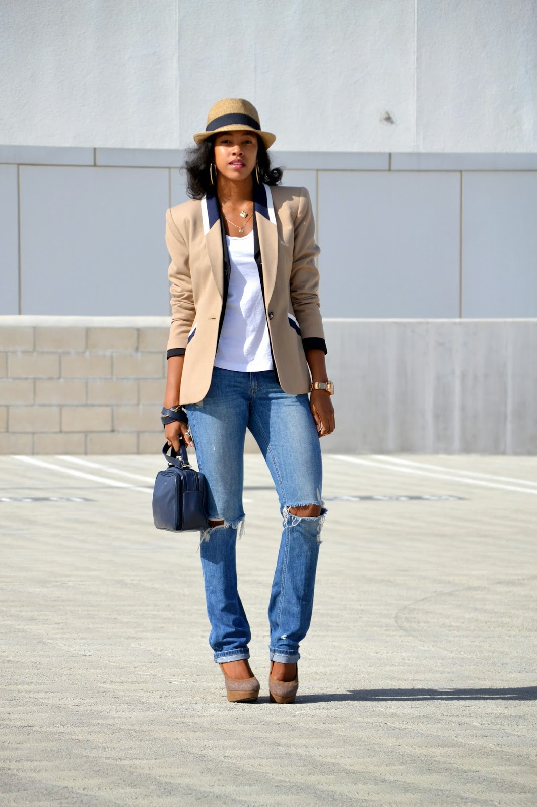 how to layer blazers styled with fedora