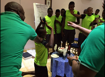 Nigerian Player Celebrates Birthday In Super Eagles Camp In Abuja..See Photos