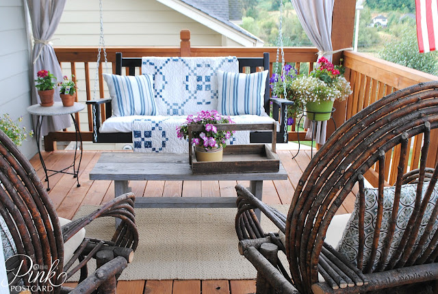 Farmhouse front porch makeover noble vintage for Farmhouse porch swing