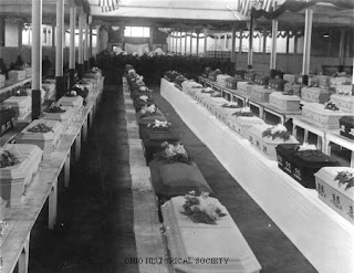 Morgue at the Ohio State Fairground with victims of the Ohio Penitentiary fire, 1930.