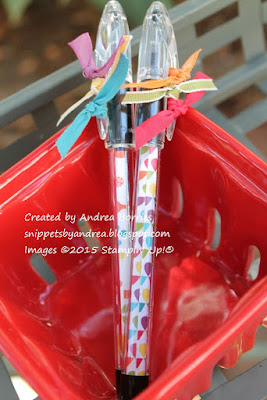 Pentel RSVP pens decorated with Summer Smooches DSP inside the barrels and coordinating ribbons tied on the caps.