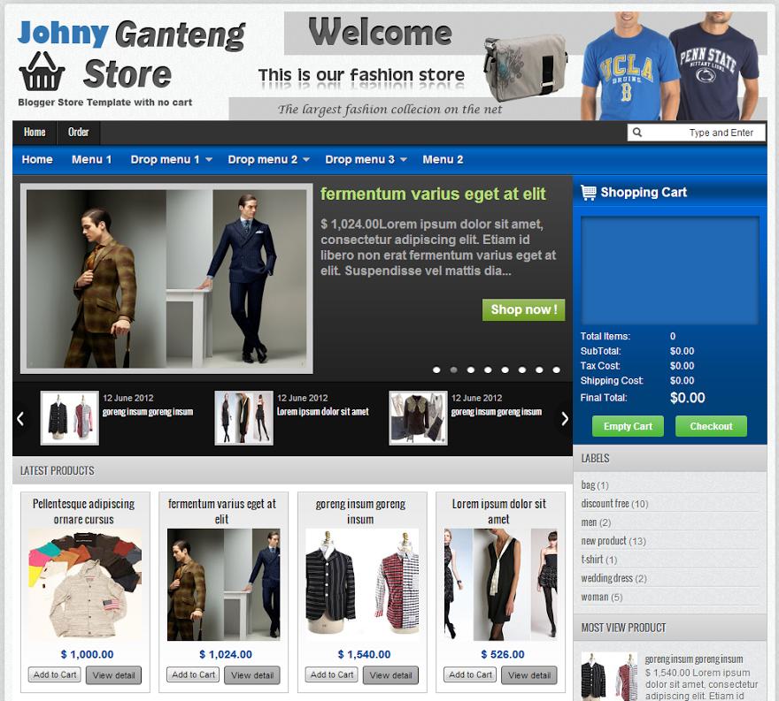 Share Templates Shop Johny Ganteng with Cart Blogspot