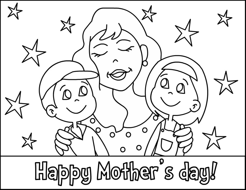 coloring pages mom and kids - photo#29