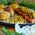 Roasted new Potatoes with Tarragon and Baked Chicken Thights and Peas