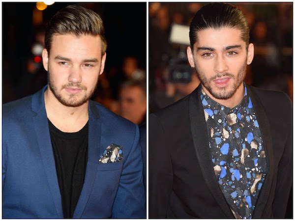 Liam Payne with Zayn Malik wearing Acne Studios Fall Winter 2014 Isherwood stones print shirt to NRJ Music Awards at Palais des Festivals Cannes France 13th December 2014