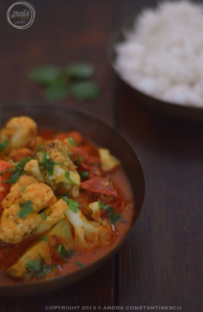 Broccoli, cauliflower and carrot curry