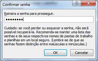 Excel 2010 - Confirmar senha