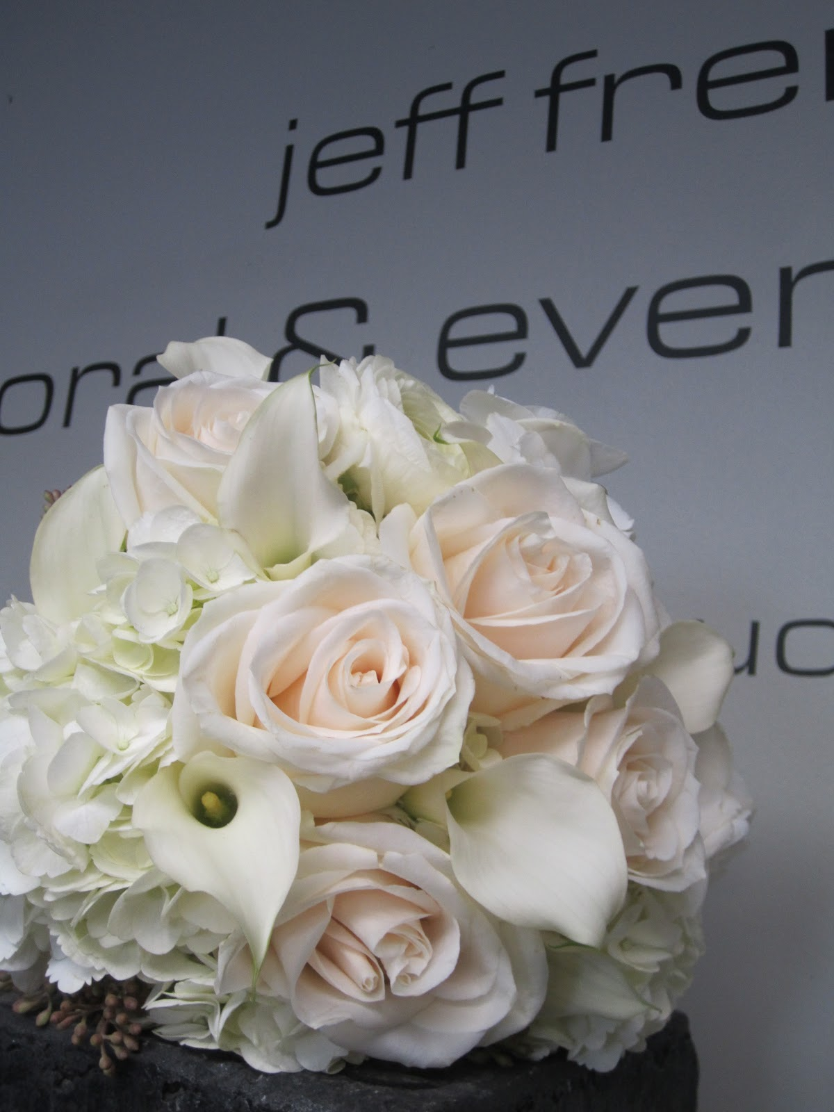 Jeff french floral event design wedding flowers international her attendants carried white hydrangea calla lilies vandella roses and white ranunculus izmirmasajfo