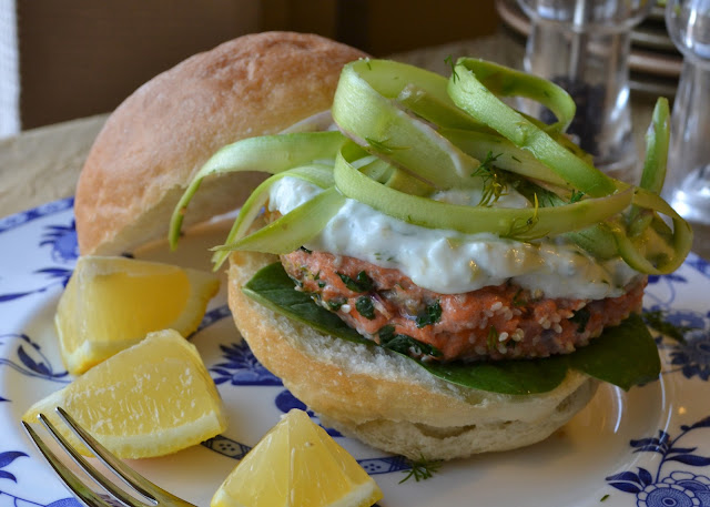 Celebrate Spring with a Sesame Seed Encrusted Salmon Burger with Lemon ...