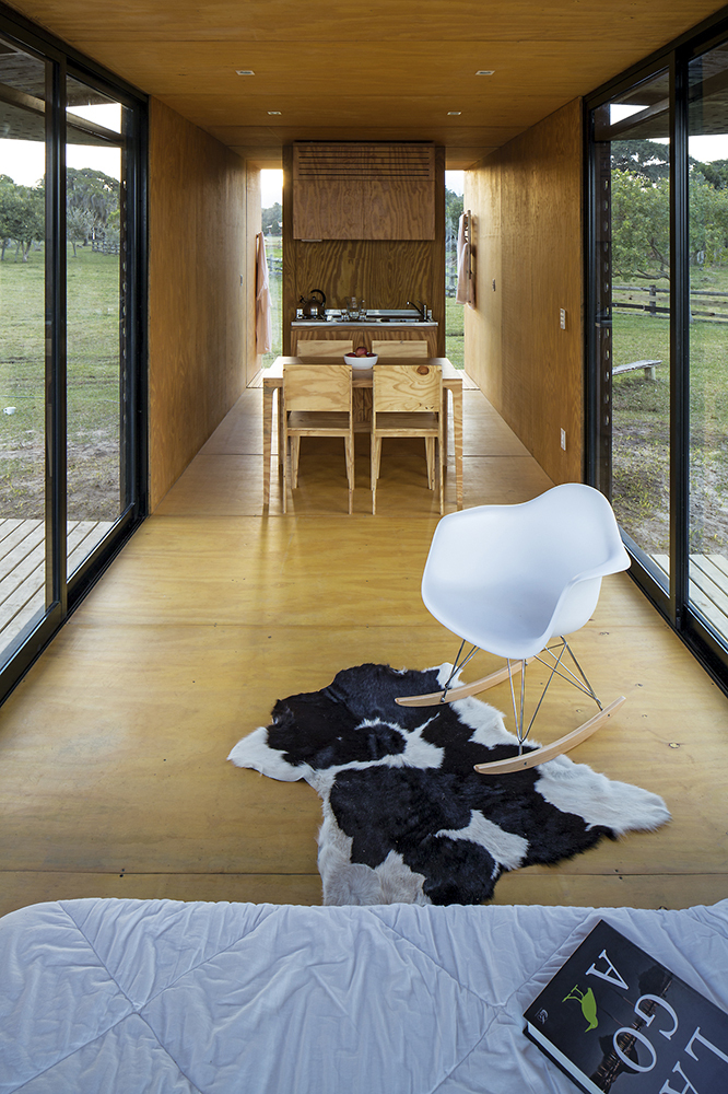 Interior of modern container house