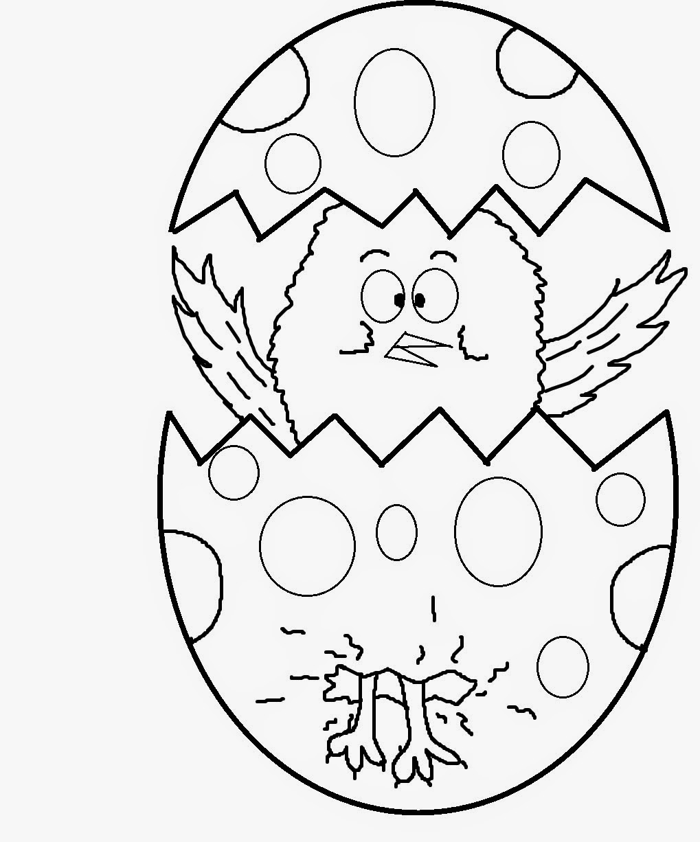 easter egg chick coloring page for kids printable