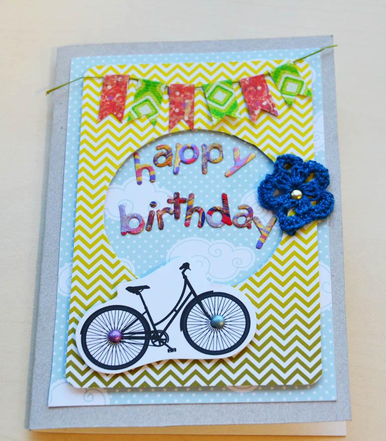 Как сделать открытку велосипед 741