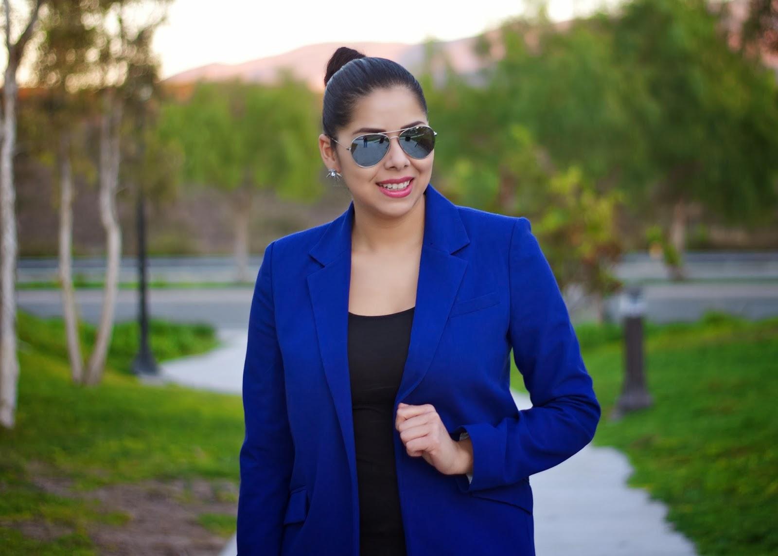 blue blazer outfit idea