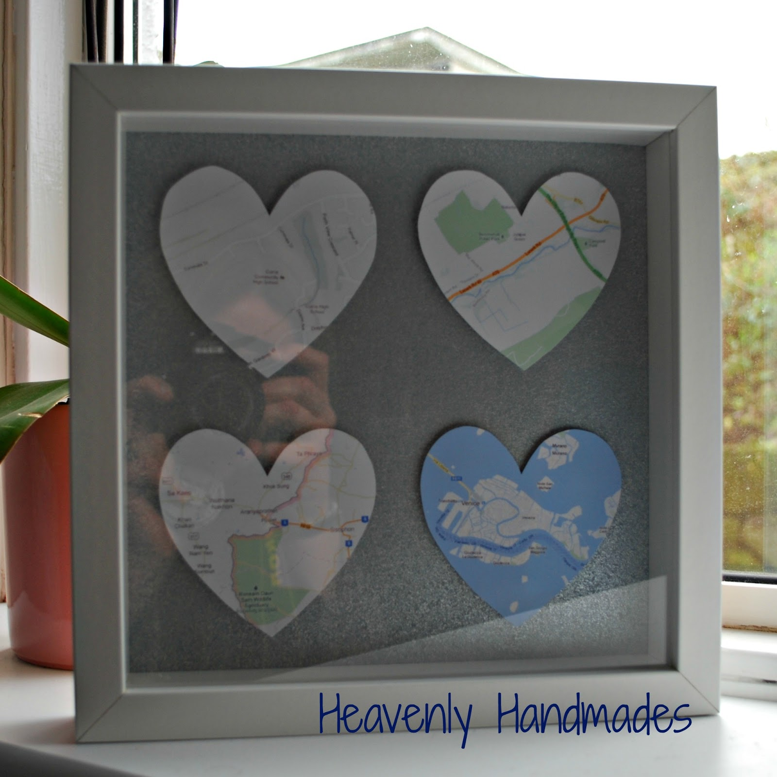 DIY Map Hearts Picture ~ Heavenly Handmades