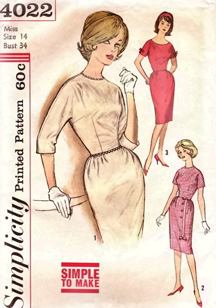 1960s wiggle dress pattern Just Peachy, Darling
