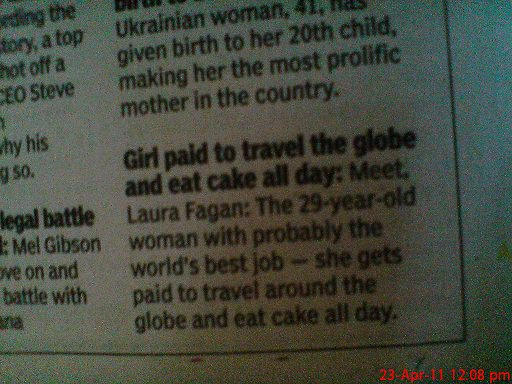 Girl paid to travel the world and eat cake all day