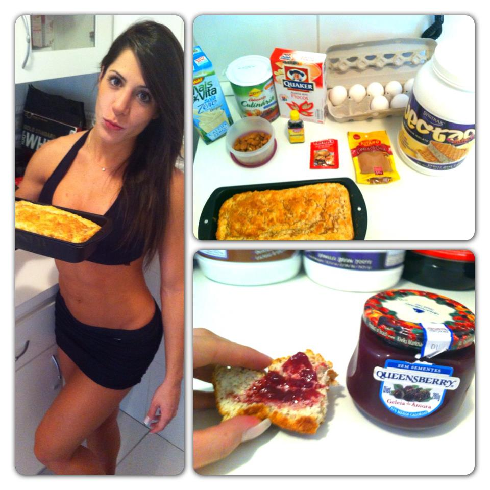 Nathalia Santoro mostra o bolo de whey protein feito em casa