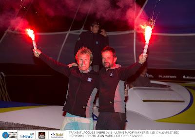 François Gabart et Pascal Bidegorry, grands vainqueurs de la Transat Jacques Vabre 2015 au scratch !