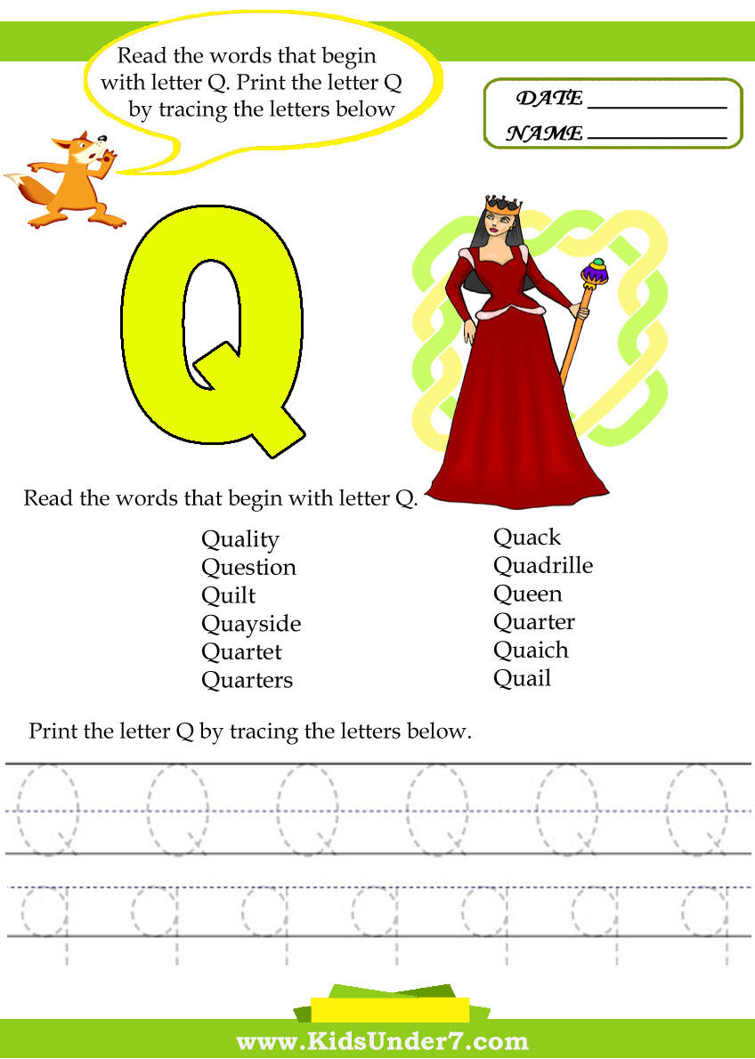 kids under 7 alphabet worksheets trace and print letter q