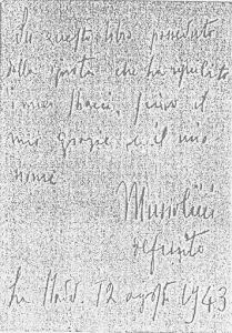 Dedica del Duce s su un libro regalatogli dalla Sig.ra Pedoli che lo accudiva durante la prigionia