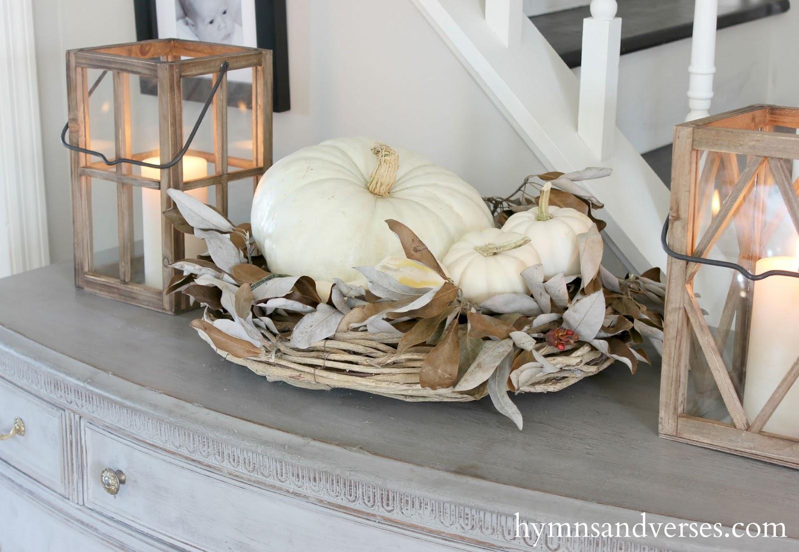 Rustic Wood Lanterns And White Pumpkins