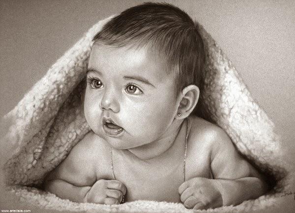 Dessin bébé mignon noir et blanc