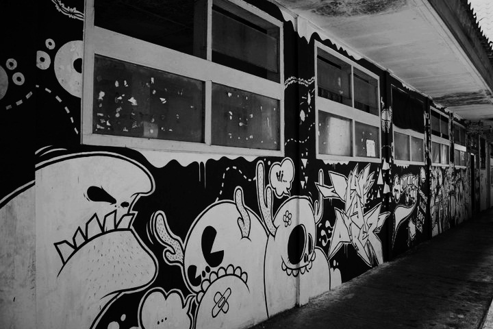 Black n white mural project full wall unpak
