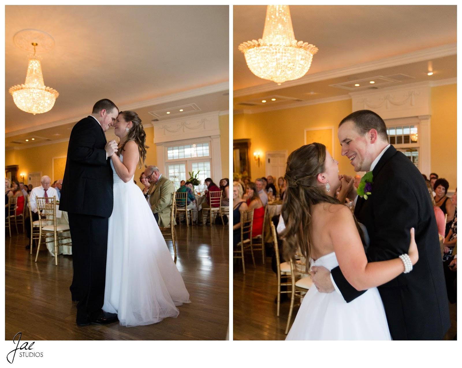 Jonathan and Julie, Bird cage, West Manor Estate, Wedding, Lynchburg, Virginia, Jae Studios, wedding dress, dancing, laughing, chandelier, guests, reception, pearl bracelet, boutonniere, flowers