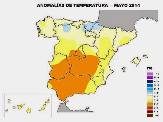 Anomalía en las temperaturas mayo 2014