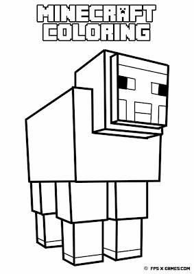 Printable Minecraft coloring - Sheep