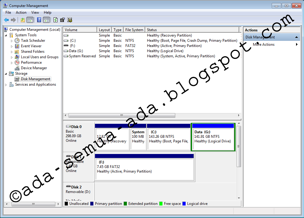 Cara partisi harddisk tanpa software pada Windows 7