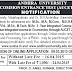 AUCET 2015 Notification-AUCET 2015 Admission Notification