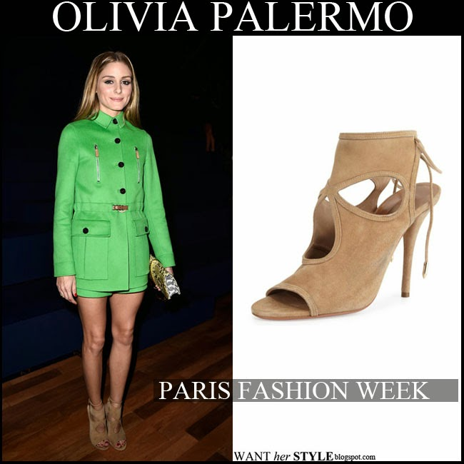 Olivia Palermo in short green Valentino coat with snake Nina Ricci clutch and suede Aquazzura cutout sandals want her style paris fashion week september 30 fall fashion