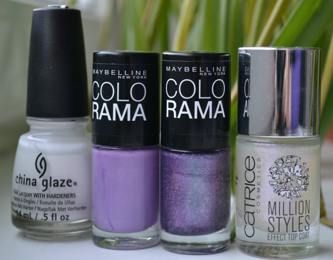 China Glaze White on White, Maybelline Colorama #86, Maybelline Colorama #50, Catrice Million Styles Effect Top Coat Holo Qué Tal?!