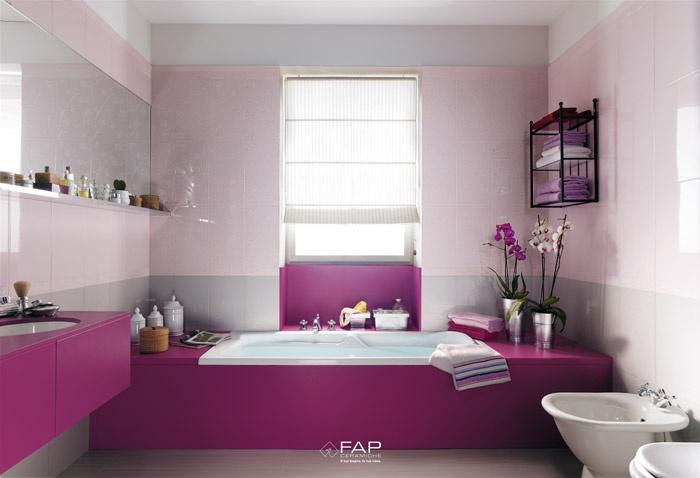 Consigli per la casa e l 39 arredamento idee per arredare o imbiancare un bagno rosa lilla - Accessori bagno viola ...