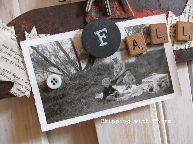 Orange Scraper turned Fall Photo Holder by Chipping with Charm