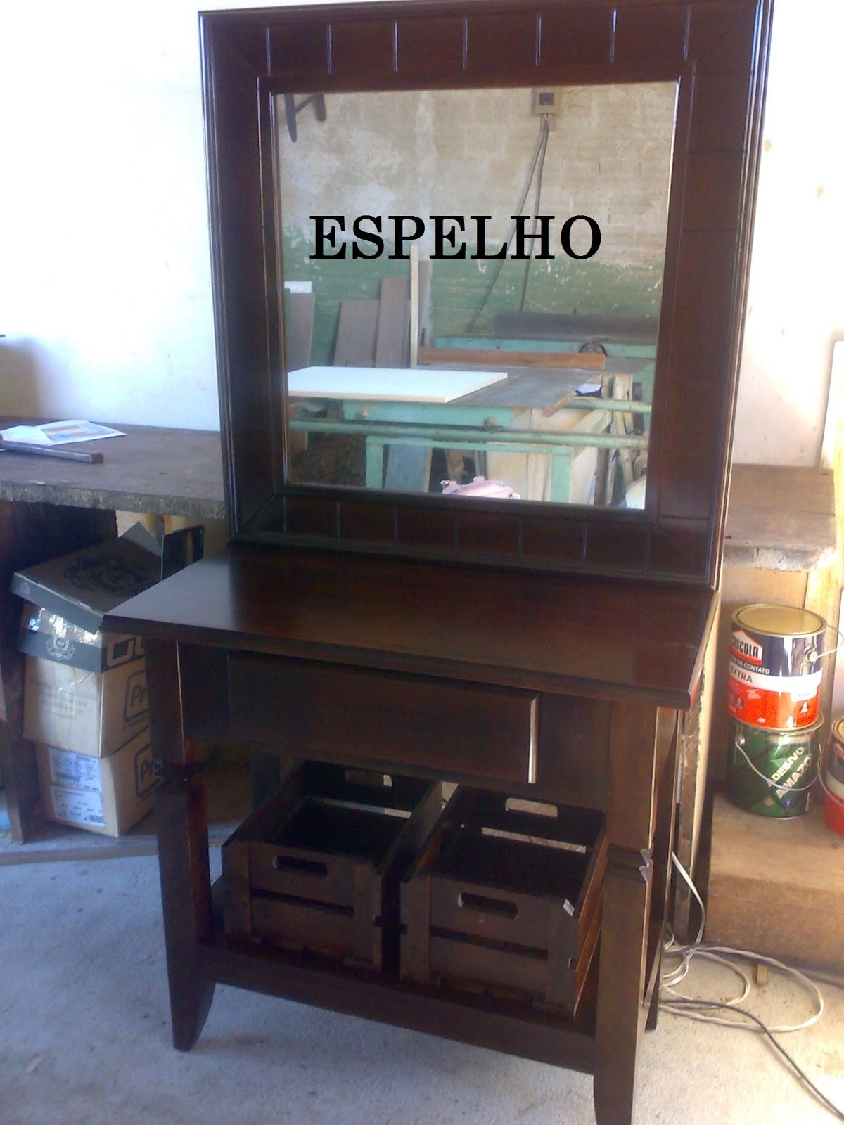 Balcão com espelho para banheiro em madeira maciça de Imbúia #485C83 1200 1600