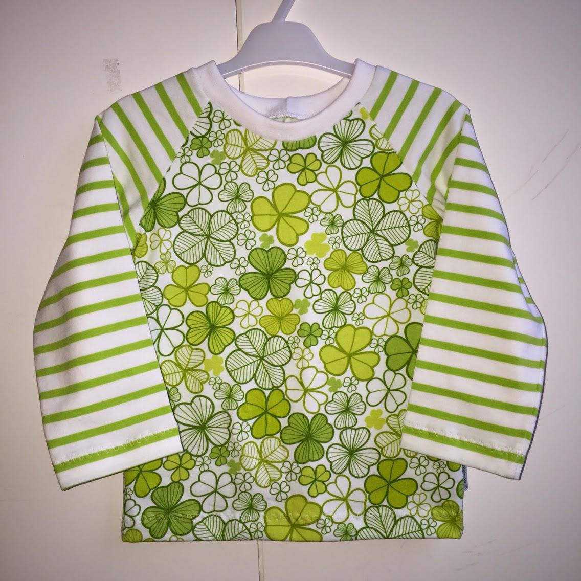 barnkläder sy raglantröja klövertyg jersey trikå