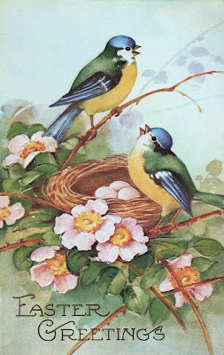 Vintage Stock Easter Image Birds Nest