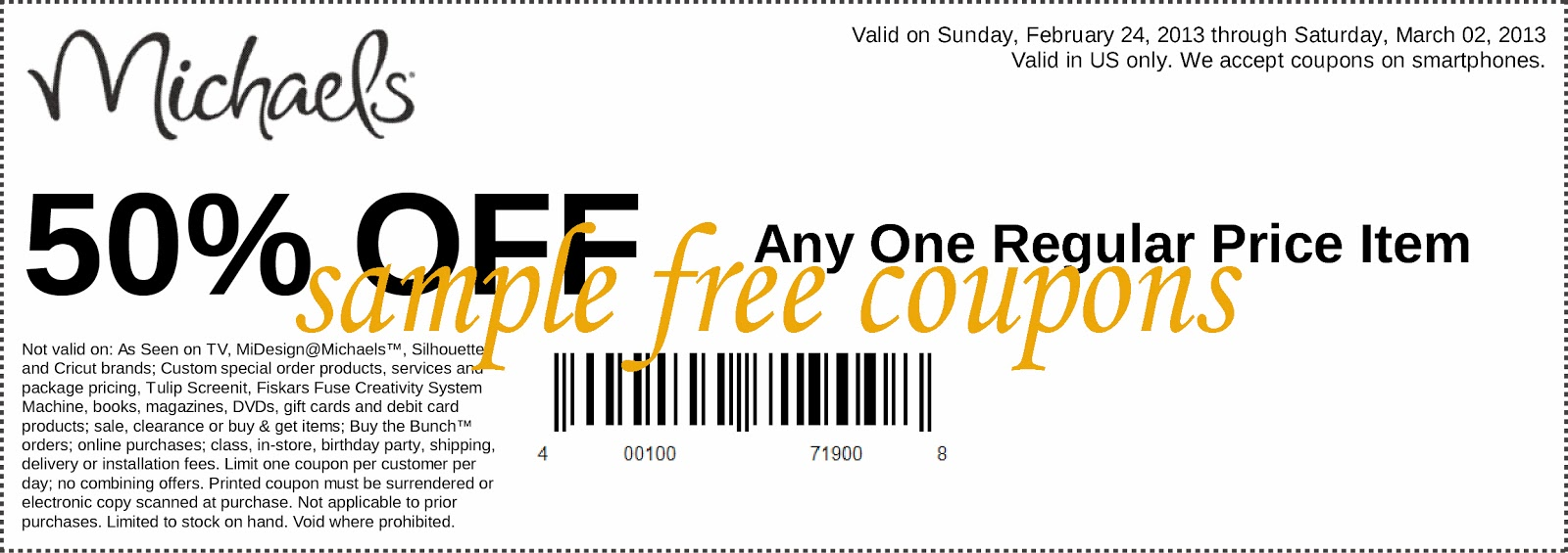 Discount coupon for michaels