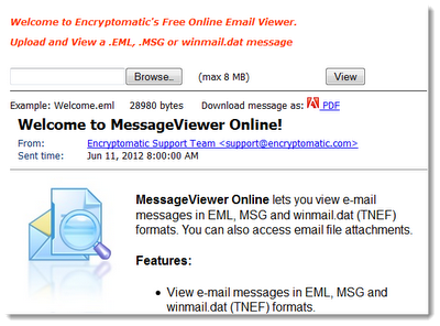 Free online .msg, .eml, winmail.dat viewer