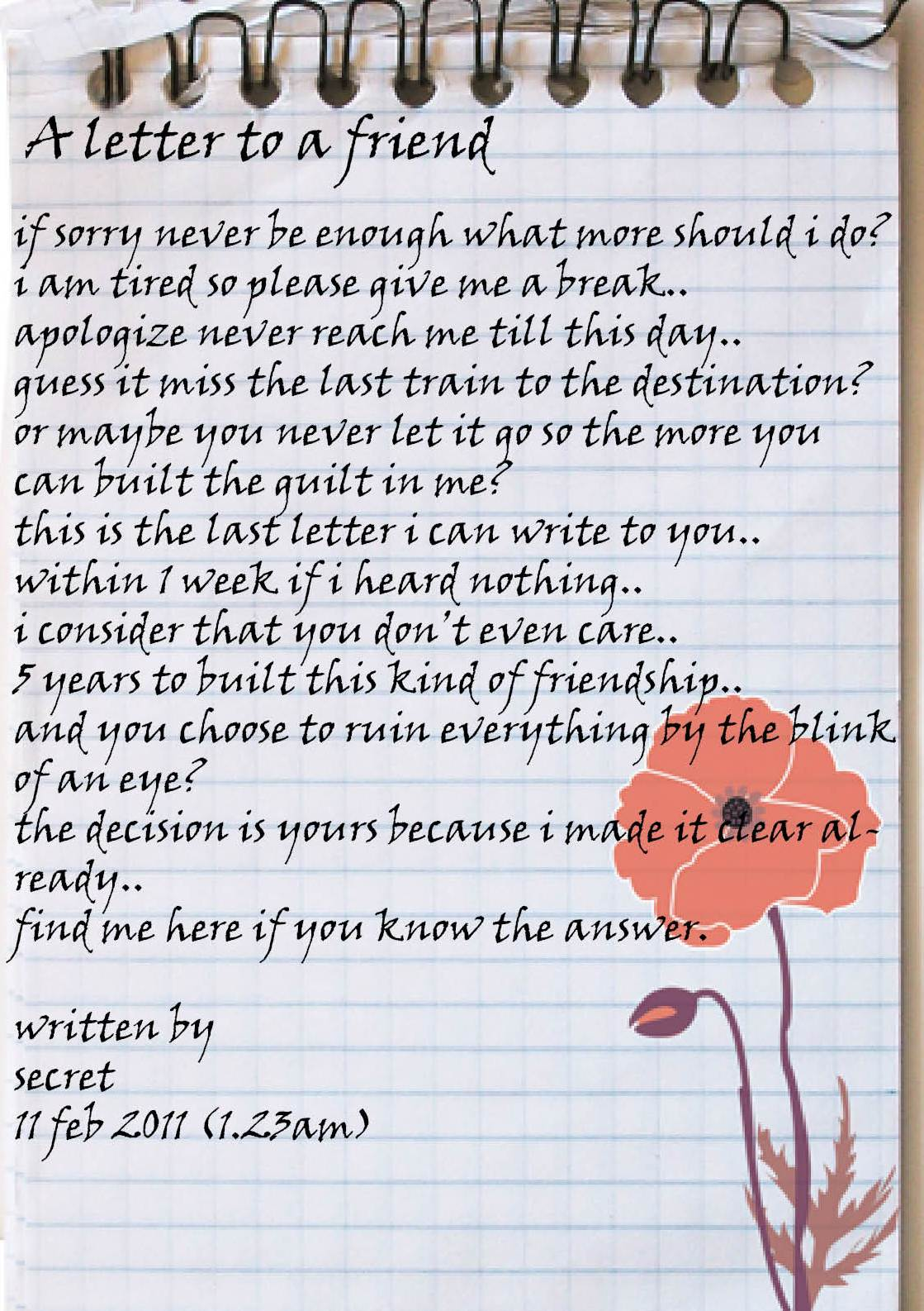 Letter to friend
